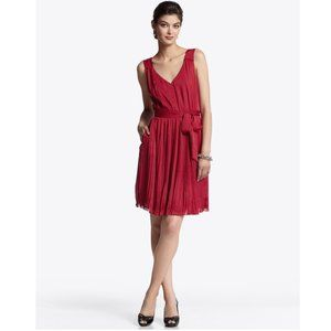 WHBM Dress Crimson Red Flowing Micro Pleated 4